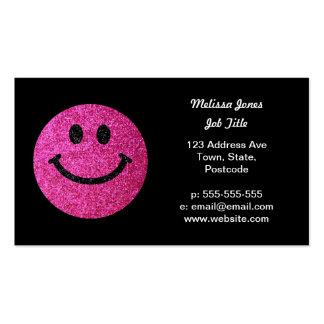 Falsa cara del smiley del brillo de las rosas tarjetas de visita