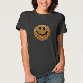 Falsa cara del smiley del brillo del oro camisas