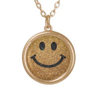 Falsa cara del smiley del brillo del oro colgante redondo