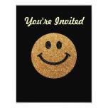 Falsa cara del smiley del brillo del oro invitación 10,8 x 13,9 cm