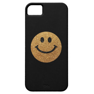 Falsa cara del smiley del brillo del oro iPhone 5 carcasa