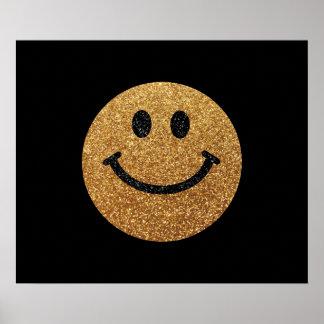 Falsa cara del smiley del brillo del oro póster