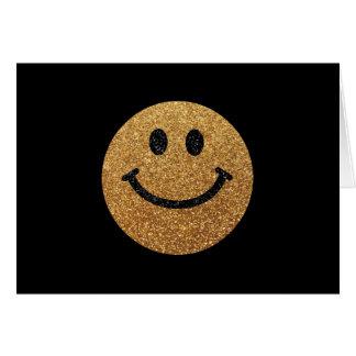Falsa cara del smiley del brillo del oro tarjeta de felicitación