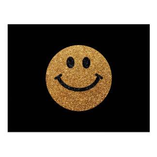 Falsa cara del smiley del brillo del oro tarjetas postales