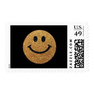 Falsa cara del smiley del brillo del oro timbres postales