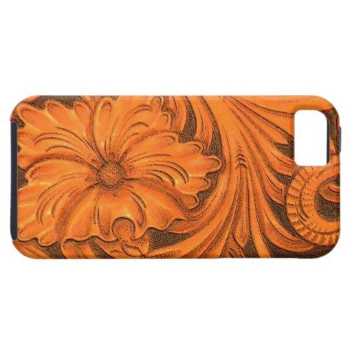 Falsa casamata de cuero equipada floral del iPhone iPhone 5 Coberturas
