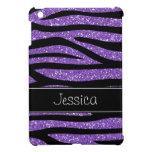 Falsa cebra púrpura del brillo personalizada iPad mini fundas
