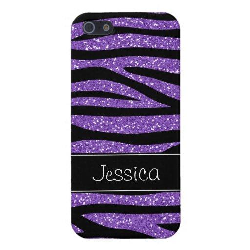 Falsa cebra púrpura del brillo personalizada iPhone 5 fundas