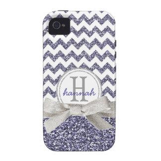 Falsa cinta del brillo del monograma púrpura lindo iPhone 4/4S funda