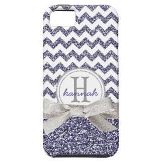 Falsa cinta del brillo del monograma púrpura lindo iPhone 5 carcasa