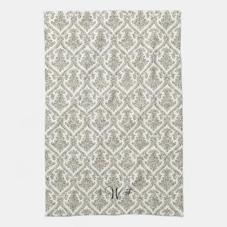 Falsa cocina de plata del estampado de flores del  toalla de mano