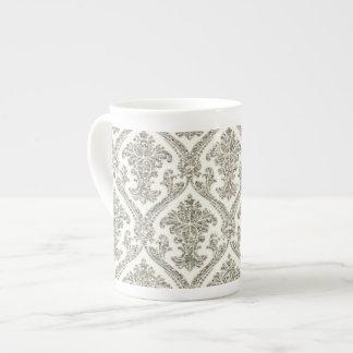 Falsa cocina de plata del estampado de flores del  taza de porcelana