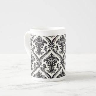 Falsa cocina negra del estampado de flores del dam taza de porcelana