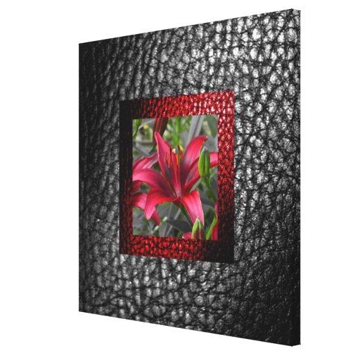 Falsa colección de cuero gris rica 1Red floral Lienzo Envuelto Para Galerías