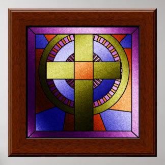 Falsa cruz de Pascua de la ventana de la iglesia Póster