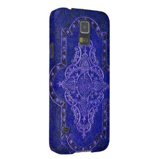 Falsa cubierta de libro de cuero azul antigua funda de galaxy s5
