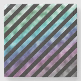 Falsa diagonal púrpura azulverde del negro del posavasos de piedra
