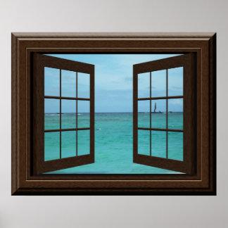 Falsa escena del océano del Aquamarine del poster Póster