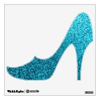 Falsa etiqueta azul de la pared del zapato del tac