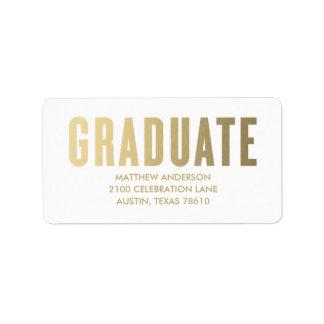 Falsa etiqueta de dirección de la graduación de la