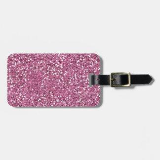 Falsa etiqueta rosada del equipaje del brillo