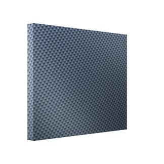 Falsa fibra de carbono azul modelada impresiones en lona estiradas