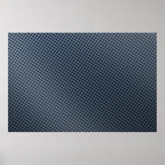 Falsa fibra de carbono azul modelada impresiones