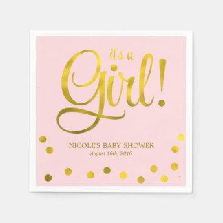Falsa fiesta de bienvenida al bebé linda del chica servilleta de papel