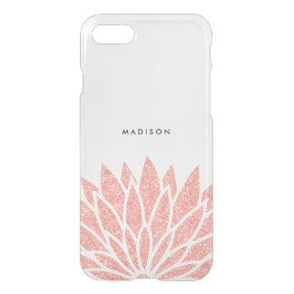 Falsa flor color de rosa del brillo del oro funda para iPhone 7