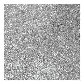 Falsa foto de plata del brillo invitación 13,3 cm x 13,3cm