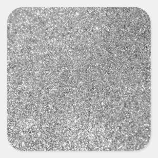 Falsa foto de plata del brillo pegatina cuadrada