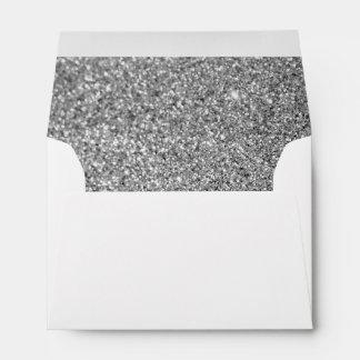 Falsa foto de plata del brillo sobres