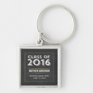 Falsa graduación 2016 del oro de la pizarra llavero cuadrado plateado