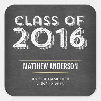 Falsa graduación 2016 del oro de la pizarra pegatina cuadrada