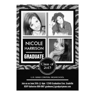 Falsa graduación de plata de la foto de la cebra 3 anuncio personalizado