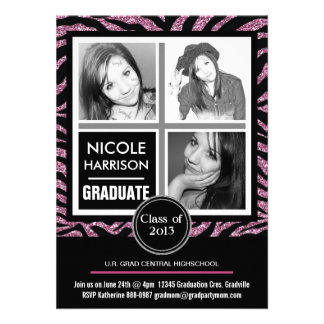 Falsa graduación rosada de la foto de la cebra 3 d invitacion personal