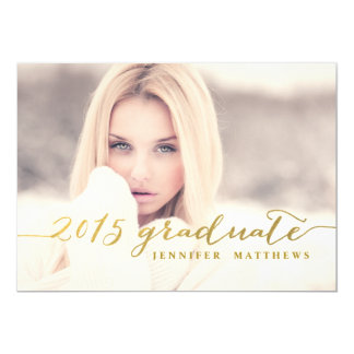 Falsa hoja de oro el | 2015 invitaciones de la invitación 12,7 x 17,8 cm