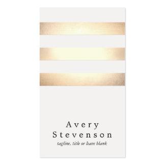 Falsa hoja de oro fresca y moderno rayado blanco tarjeta de visita