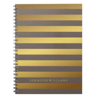 Falsa hoja de oro moderna y rayas de color topo cuadernos