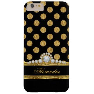 Falsa hoja de oro negra elegante del diamante funda de iPhone 6 plus barely there