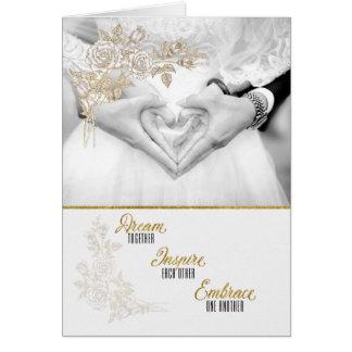Falsa hoja de oro para la novia y el novio tarjeta de felicitación