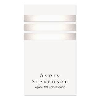 Falsa hoja de plata fresca y moderno rayado blanco tarjetas de visita