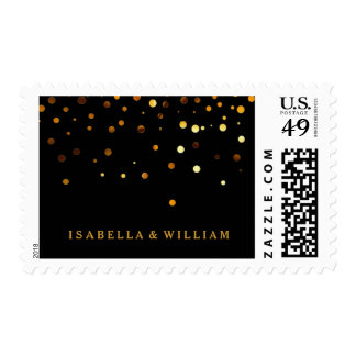 Falsa hoja del oro del confeti negro del brillo timbres postales