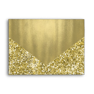 Falsa hoja elegante del brillo del oro sobres