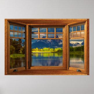 Falsa ilusión de madera de la ventana de arco - póster