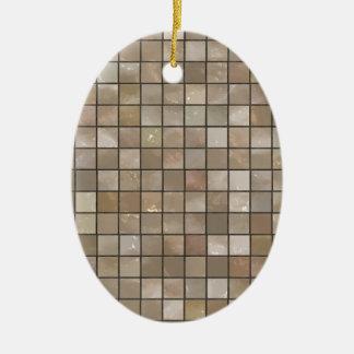 Falsa imagen de la baldosa del moreno adorno navideño ovalado de cerámica