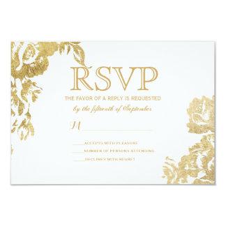 """Falsa impresión del oro floral color de rosa invitación 3.5"""" x 5"""""""