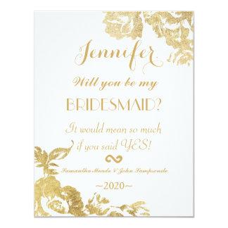 """Falsa impresión del oro floral color de rosa invitación 4.25"""" x 5.5"""""""