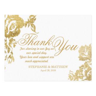Falsa impresión del oro floral color de rosa postales