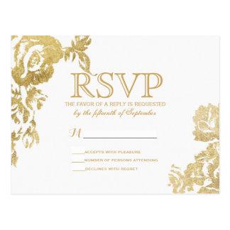 Falsa impresión del oro floral color de rosa tarjetas postales